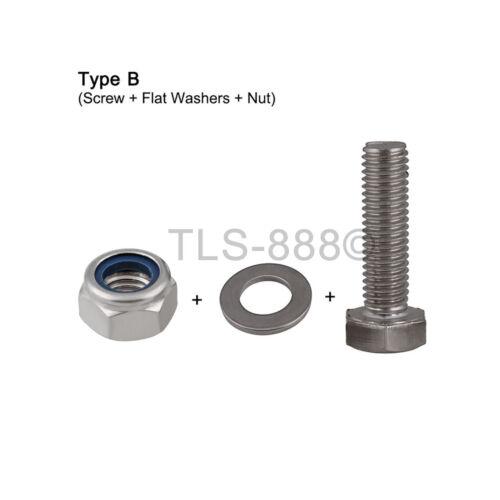 M5*10-30 Hexagon Head Screw Hex Bolt+Nyloc Nut+Flat/&Spring Washer Kit Match A4SS