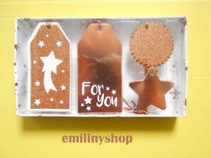 Assortiment Kit Noel étiquettes En Carton Bronze Brique Sapin étoile Fête Neuf