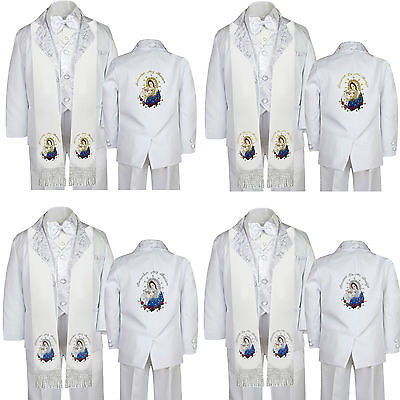 Baby Boy Baptism White Tuxedo Color Gold Virgin Mary Pope Embroidery Back Sm-7
