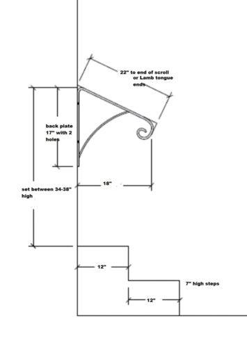 "Grab Support bar 22/"" HAND RAIL IRON HANDRAILING WALL MOUNT RAILS Stairs Steps"
