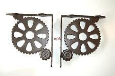 Pair of large vintage industrial machine cog wall shelf brackets bracket AL40