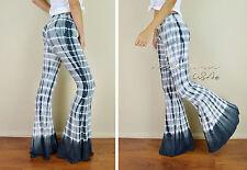 """Tie Dye Effect HUGE 36"""" FLARE BELL BOTTOM Gray Stretch Boho Hippie 70's Pants M"""