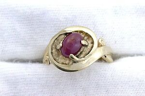 14Kt-REAL-Yellow-Gold-Oval-7x5-Ruby-Cabochon-Cab-Gemstone-Gem-Stone-Ladies-Ring