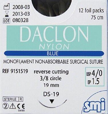 SURGICAL DACLON SUTURES NYLON NON ABSORBABLE MONOFILAMENT 12/BOX 3/0