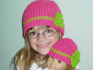 Matching-Girl-amp-Doll-Crocheted-Hats-Fits-American-Girl-Dolls-Pink-amp-Green