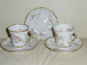 Antique Theodore Haviland Limoges Rose Pattern Cups and Saucers 1903 ...