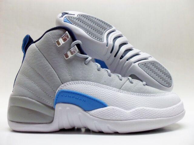 newest e42df fdeae Air Jordan 12 Retro BG Boys Shoes Wolf Grey University Blue White  153265-007 3.5