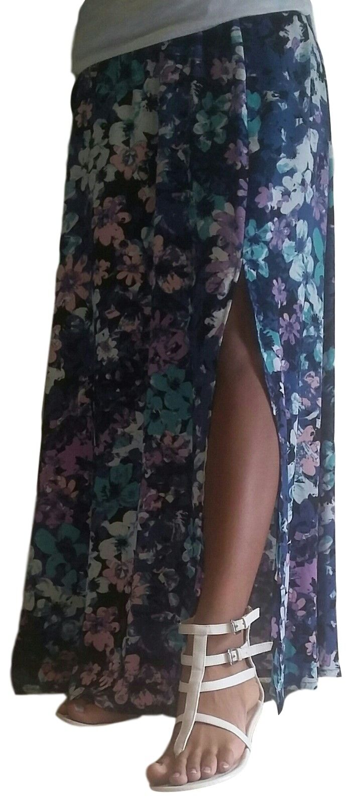 NEW Neiman Marcus Side Slit Maxi Skirt Womens Size S - Navy Floral A557