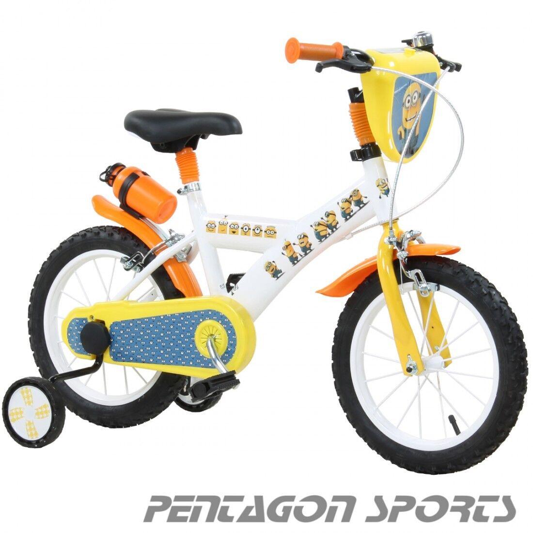 Kinderfahrrad 14 Zoll Minions Kinderrad mit Stützrädern Bob Kinder MTB