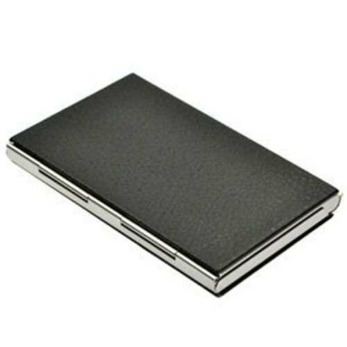 Top Sale Luxury Leather with Stainless Steel Business Name Card Case Holder
