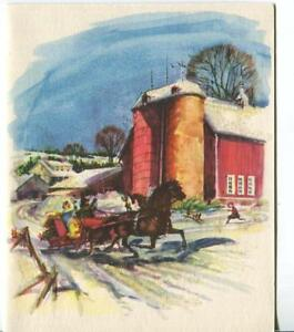 VINTAGE-CHRISTMAS-GLITTER-VICTORIAN-SLEIGH-RIDE-FARM-SILO-GREETING-amp-SCHOOL-CARD