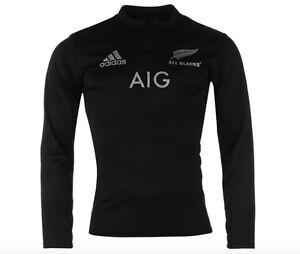 Das Bild wird geladen Adidas-All-Blacks-Neuseeland-langarm-Rugby-Trikot- Schwarz-