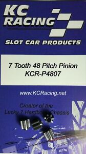 4 Pieces - 1/24 Slot Car Pinion Gear, 48 Pitch, 7 Tooth, KC Racing