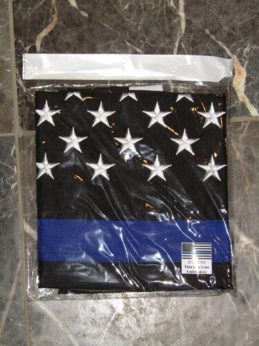 2x3 Embroidered Police USA Memorial Blue Sewn Nylon Flag 2/'x3/' Thin Blue Line