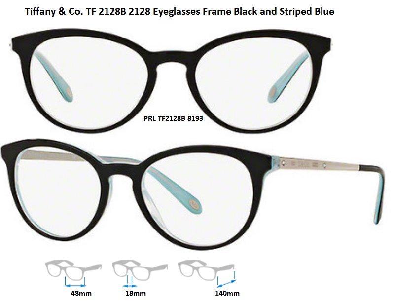 Authentic Tiffany & Co. Tf2128b 8193 Black/striped Blue Eyeglass ...