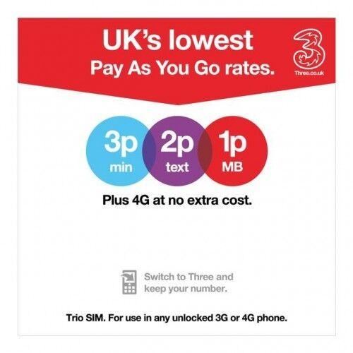 NEW OFFICIAL PAY AS YOU GO THREE 3 NETWORK PAYG 3G TRIO SIM CARD WITH 321 PLAN