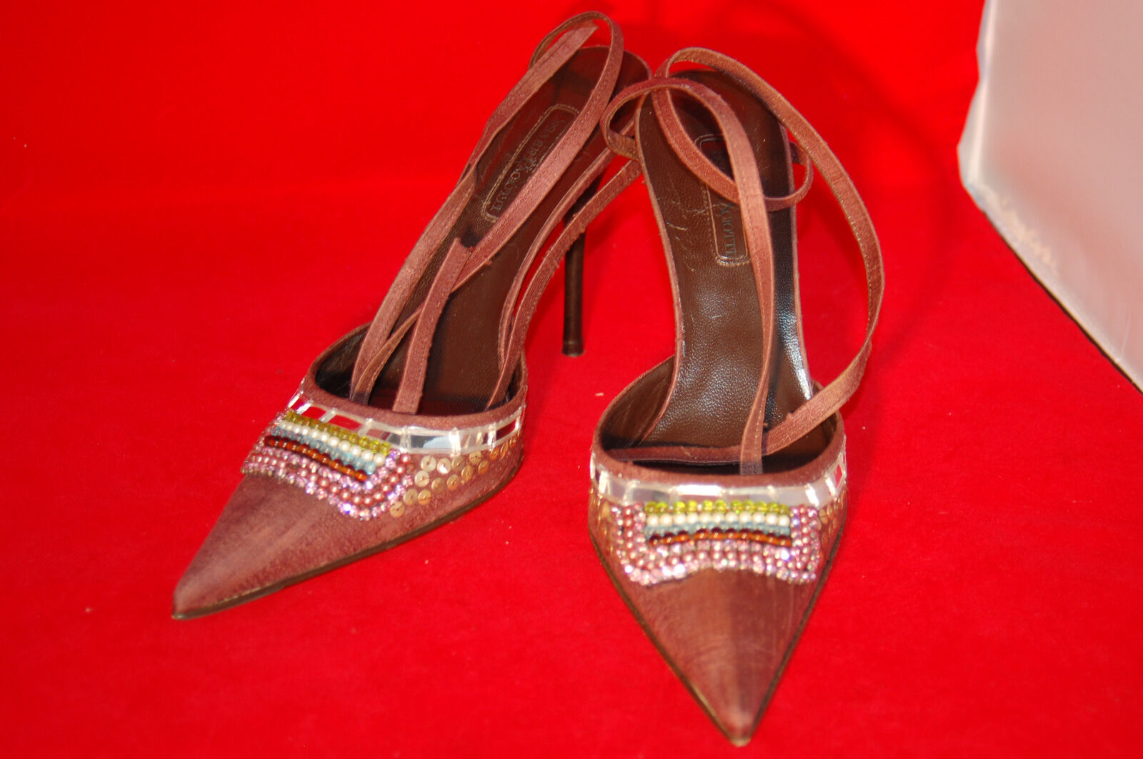 Cesare Paciotti Shoes Sz.39.5 mid-Brown silk with embellishments