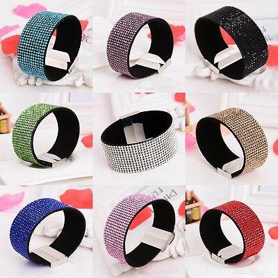 Womens Leather Magnetic Wristband Crystal Rhinestone Charm Bracelet Cuff Bangle