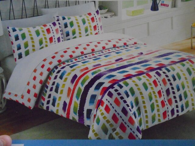 MARIELLE CHEVRON TWIN 6 PC COMFORTER SHAM SHEETS MULTI-COLOR RAINBOW PINK NEW