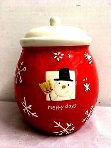 Vintage Christmas Cookie Jar Merry Days Ceramic Snowman Hallmark