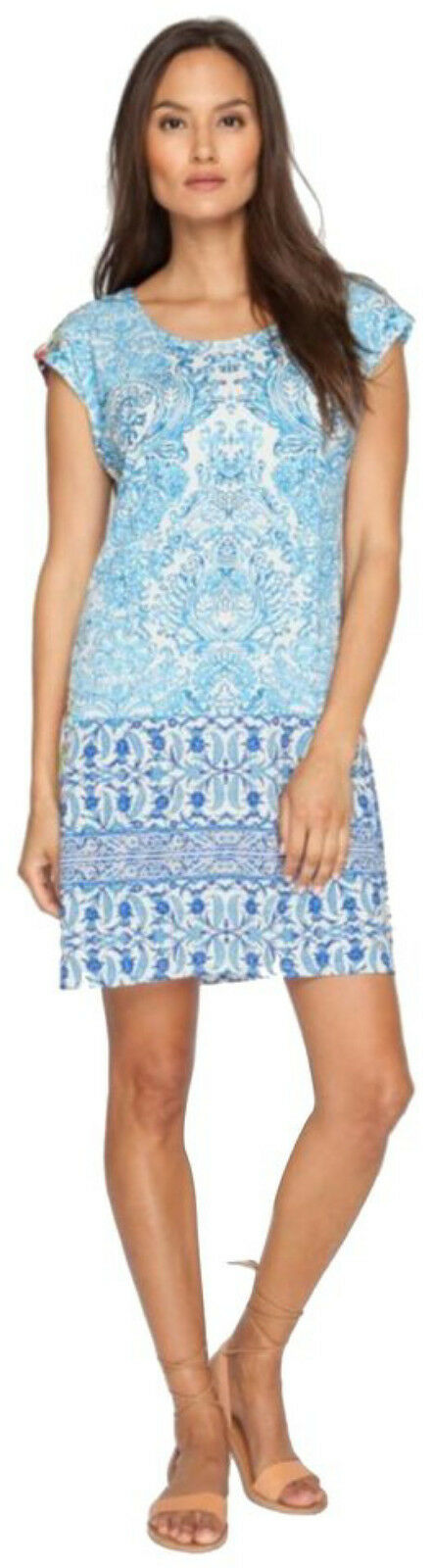 Johnny Was Was Was Print Stretch Dress Small 2 4 Bold Pattern Small Cap Sleeves A Line 315f43