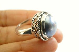 Black-Mabe-Pearl-Solitaire-Ornate-Edged-925-Sterling-Silver-Ring-Size-6-7-5-8-9