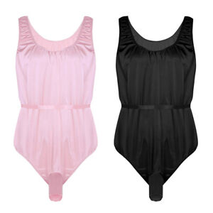 6c73160c4f72 Image is loading Men-Satin-Bodysuit-Sexy-sissy-Lingerie-Thong-Bodysuit-