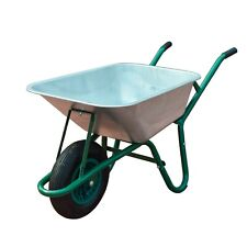 85L Large Wheelbarrow Home Garden Cart Galvanised with Pneumatic Tyre 150KG