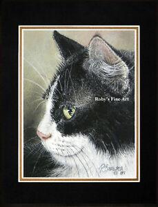 Matted-Cat-Art-Print-Tuxedo-Cat-034-Phat-Tux-034-Giclee-8-034-x10-034-Mat-by-Roby-Baer-PSA