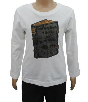 Boys Ex Zara T-Shirt Long Sleeve Top Book Print White Age 2 to 14 Years