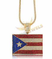 Iced Out Gold Puerto Rico Flag Pendant Necklace + 30 36 Franco Chain Ny Rican