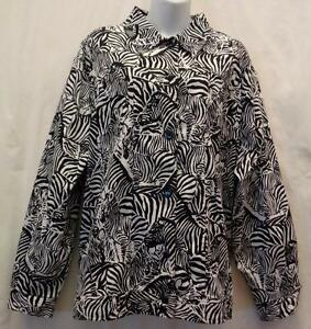 Alfred-Dunner-Jacket-Coat-24W-Black-Womans-Stretch-Zebra-Stretch-Plus-Pockets