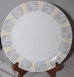 Image is loading 4-Vintage-DINNER-PLATES-black-yellow-stripes-WINTERLING- & 4 Vintage DINNER PLATES black yellow stripes WINTERLING Marktleuthen ...