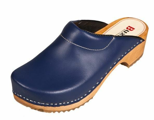 Wooden clogs   Dark  bluee color  F3 Leather or Suede (Men)