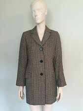 Reiss black and white check wool coat, size small