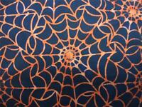 Timeless Treasures Tonga Batik Spider Web Orange Halloween Fabric Yard