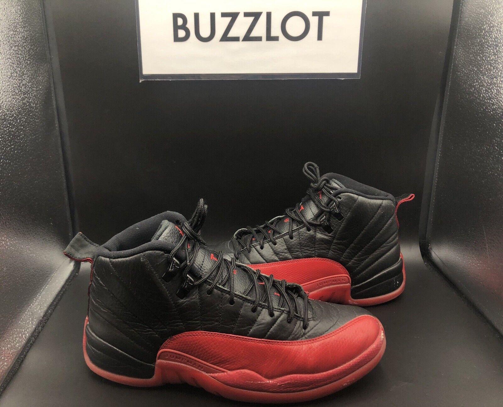 Nike Jordan 12 Retro Ps Kids Black Varsity Red Flu Game 151186 002