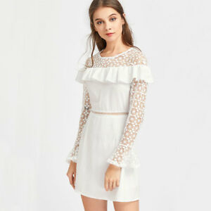 eeab0fa6494b Caricamento dell immagine in corso Elegante-vestito-abito-tubino-bianco- pizzo-corto-slim-