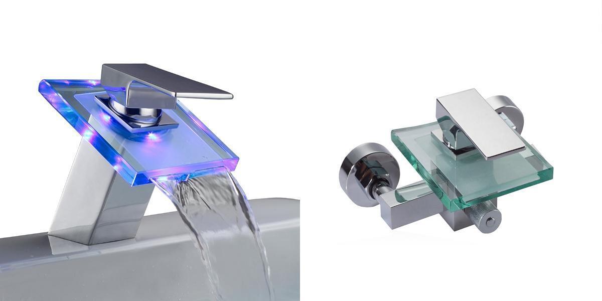 Design Set LED Glas Badarmatur und Glas Wannenarmatur   Wasserhahn   Armatur