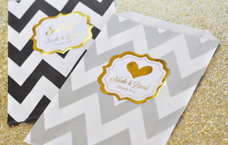 Personalized Metallic Foil Chevron & Dots Wedding Party Goodie Favor Bags