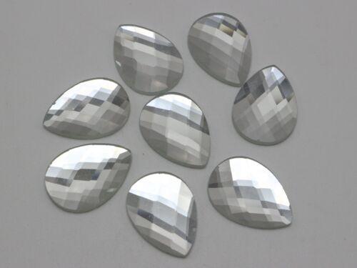 20 Cristal Transparente Facetado lágrima Flatback Cristal Estrás Gemas 18X25mm sin agujero