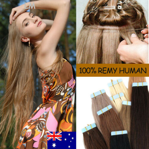 "Invisible Hair Extensions Tape In 100% Real Human Hair 14""16""18"" 20"" 22"" 24"" L26"