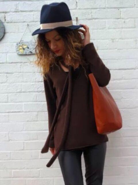 Zara Brown 100% Cashmere Jumper Sweater Knit Top Size L, Uk12
