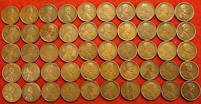 1913-P LINCOLN WHEAT CENT PENNY ROLL 50 coins