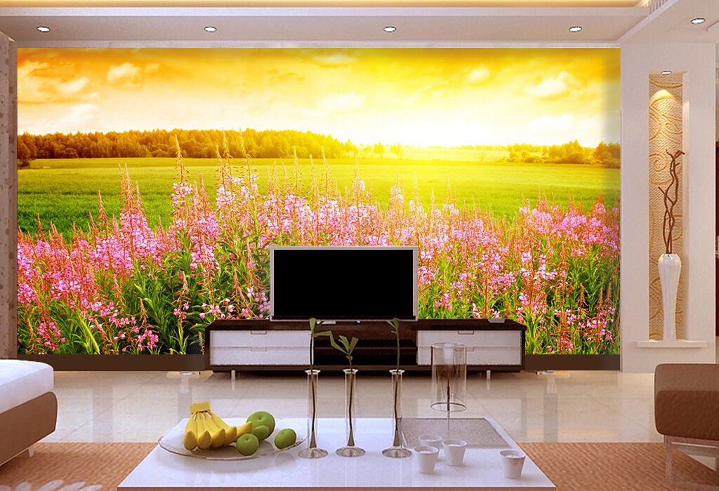 3D Sunset Flower field wall Paper Print Decal Wall Deco Indoor wall Mural