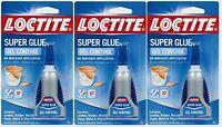 3 4g Loctite Super Glue Gel Control Clear No Drip Leather Cork Rubber 234790