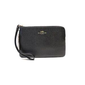 f9206b7417c9 Coach F58032 Corner Zip Wristlet Wallet Crossgrain Leather Chalk for ...