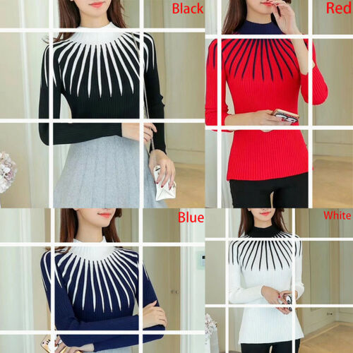 Autumn Winter Womens Ladies Knit Tops Mock Neck Long Sleeve Sweater Blouse Sh SP