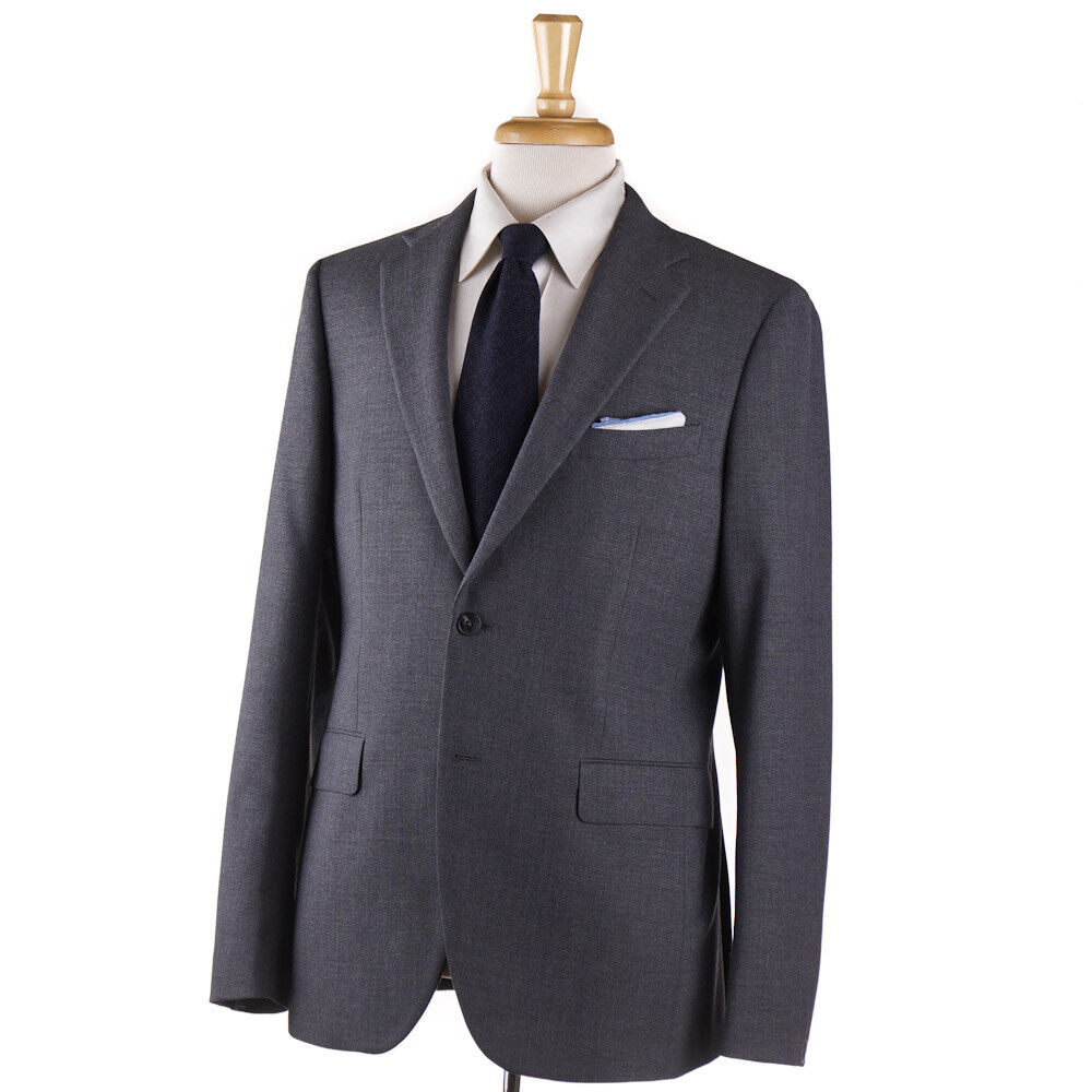 NWT 1700 BOGLIOLI 'Sforza' Solid Medium grau Woven Wool Suit Slim 42 R (Eu 52)