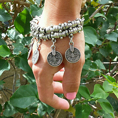 Hot Turkish Festival Jewelry Bohemian Ethnic Silver Coin Bracelet Anklet gift